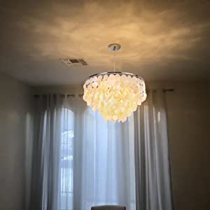 warm natural capiz shell pendant chandelier light fixture
