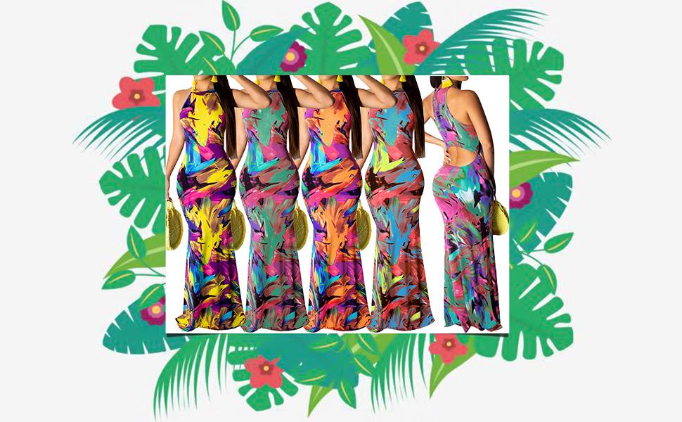 Floral Boho Bodycon Long Dresses for Women Summer Beach