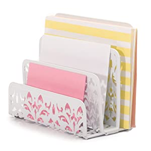Organizador de escritorio de color rosa con diseño de sobres para el hogar y la oficina