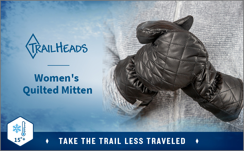close up of a pair of black quilted mittens for women against a frosty, blue background.