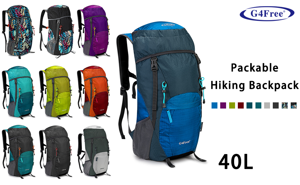 G4Free 40L Lightweight Packable Durable Travel Hiking Backpack Handy Foldable Camping Outdoor Backpack Daypack