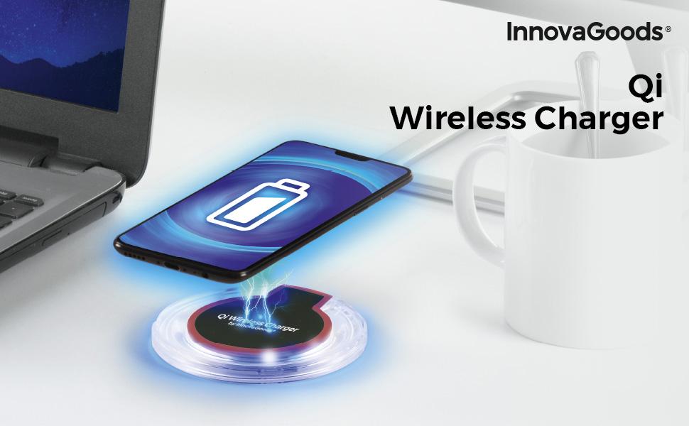 InnovaGoods   Cargador inlámbrico Qi para smartphones   Compatible ...