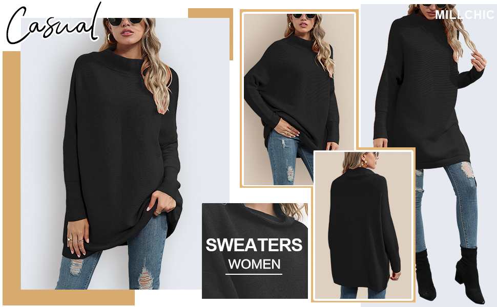 MILLCHIC Women Turtleneck Oversized Batwing Sleeve Loose Pullover Sweater Tunic Tops