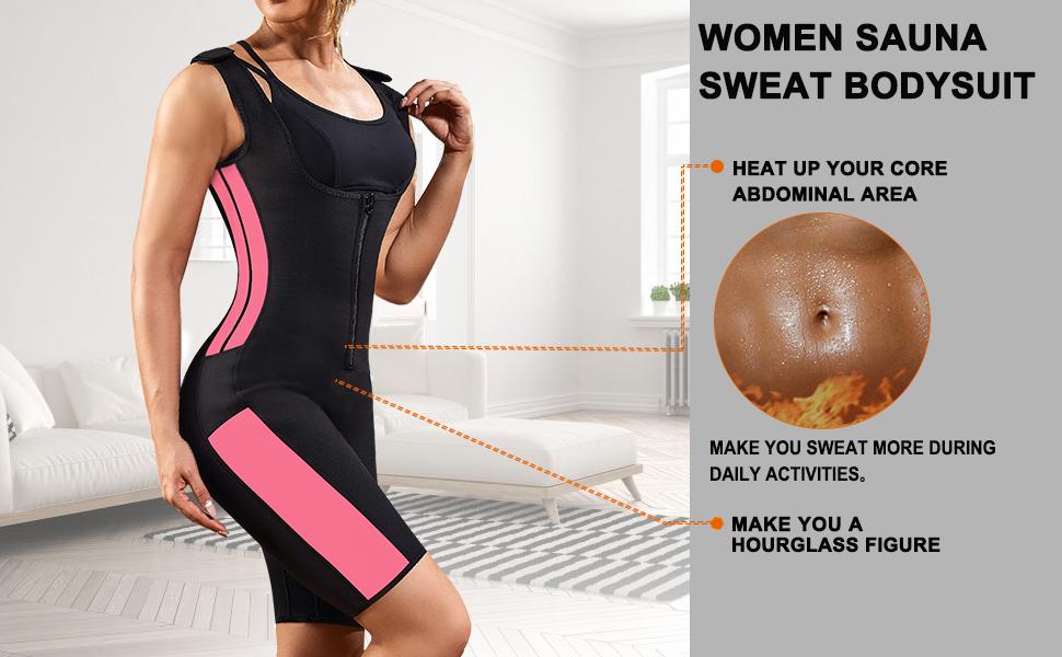 Jodimitty Damen Shapewear Body Shirt Langharm Figurformend Bauchweg Sauna-Schwitzeffekt Schnelltrockend Abnehmen Fitness Trainingshirt Sportshirt