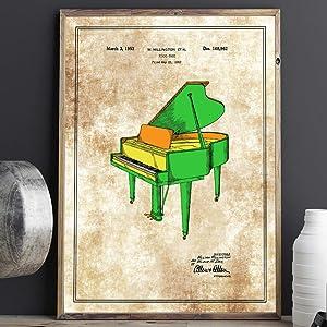 baby grand piano patent print vintage music studio decor color patents musician gift piano wall art