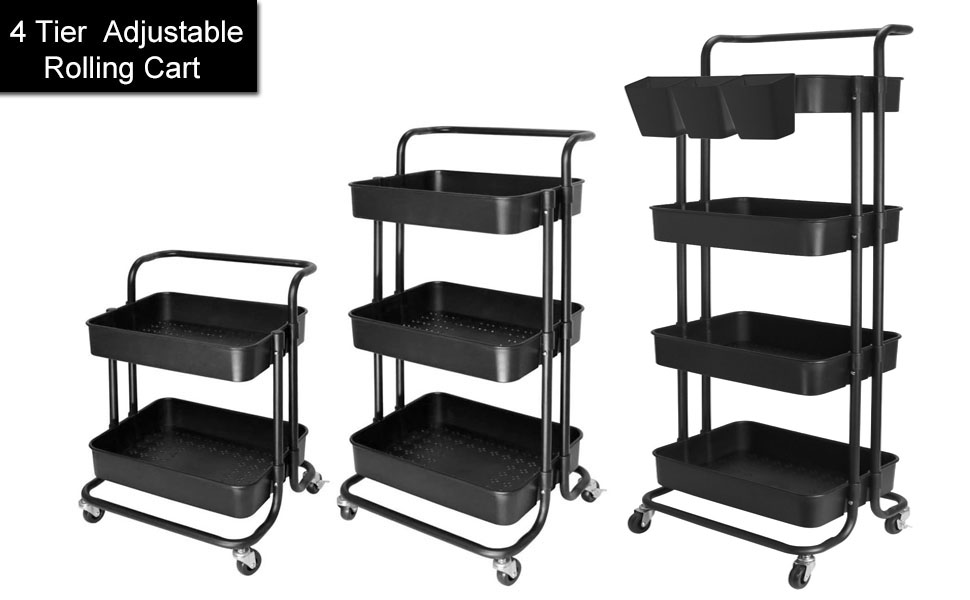 4 Tier Cart Rolling Utility Organizer Trolley Storage Shelf Rack with Lockable Wheels and Handles for Living Room Kitchen Office 4 Tier-Black