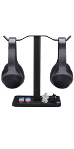 dual headphone stand with cable organizer