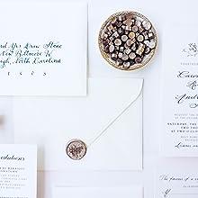 wax beads champagne wedding invitations
