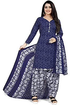 Rajnandini Blue Printed Cotton Patiyala Style Ready to Wear Salwar Suit for Women