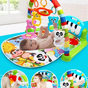 Large Baby Gym Jungle Musical Play Mats for Floor, Lights, and Sounds Toys for Infants and Toddlers