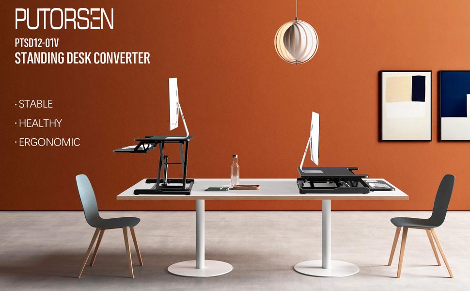 standing desk converter computer workstation adjustable height