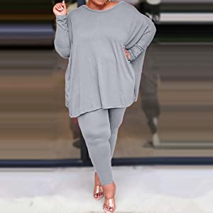 Women's Plus Size 2 Piece Outfits Sets Sweatsuit Long Sleeve Bodycon Pants Tracksuit