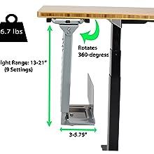 Swiveling Under Desk Metal CPU Holder Stand Up Desk Accessory Standing Desk Accessory