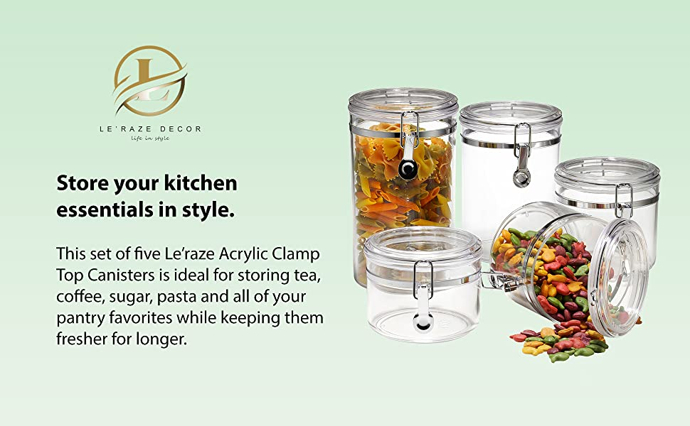 Leraze storage acrylic containers set of 5 canisters with lid clamp