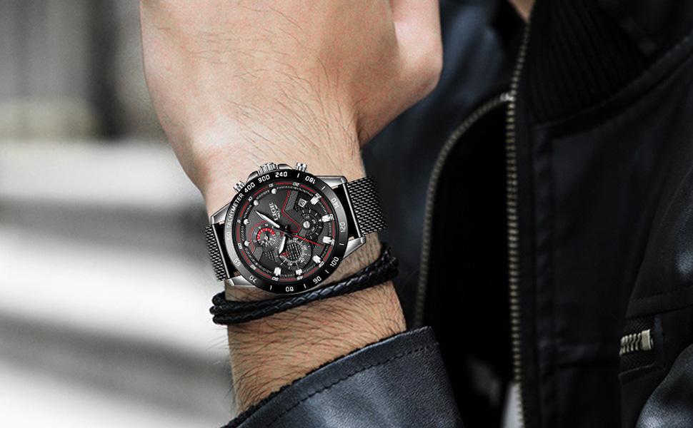 Watches men, LIGE  fashion black analog quartz watch men date casual wristwatch with mesh band