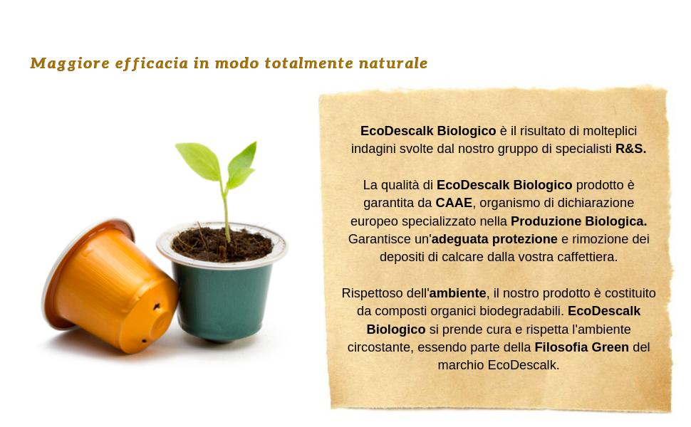 EcoDescalk Biologico Concentrato. Decalcificante 100% Naturale. Detergente per Macchine da Caffè.
