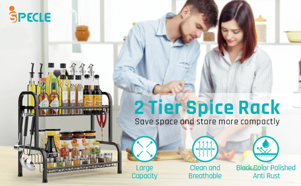 iSPECLE 3 tier Spice Rack for Kitchen Countertop