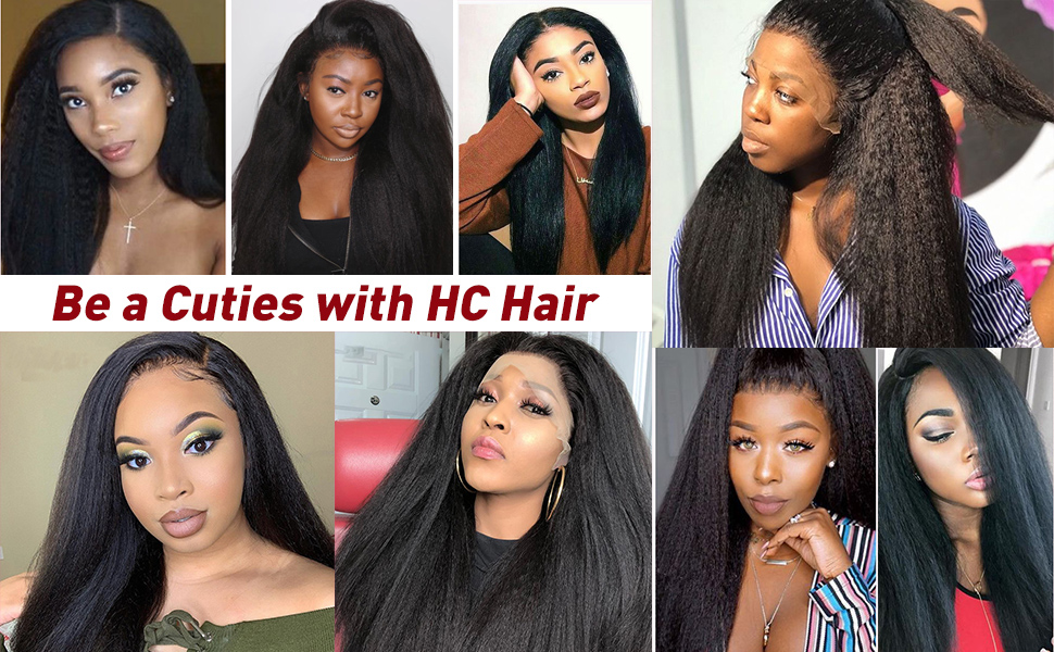 360 lace frontal kinky straight wig