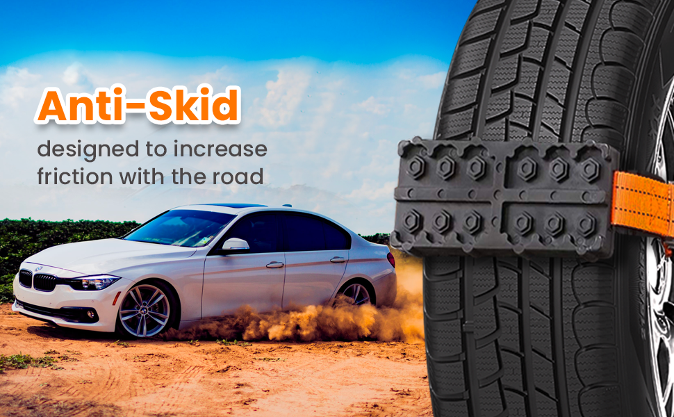 Zento Deals 2 Piece Car Traction Tire Blocks Premium Quality Durable Anti-Skid Emergency Tire Blocks Kinds of Weather