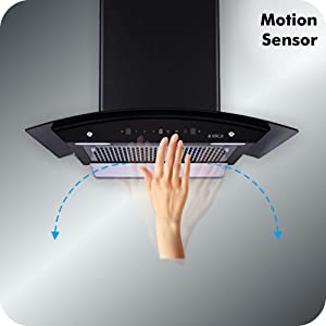 Elica 60 cm 1100 m3/hr Filterless Auto Clean Chimney EFL-WD 606 HAC MS NERO, Motion Sensor Control