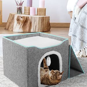 8.5'' CAVE for FREELY ACCESS & FLUFFY BALL for ENTERTAINMENT