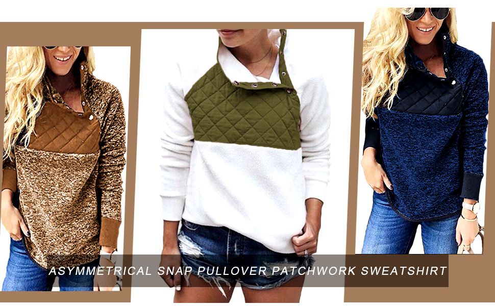 Patchwork Sherpa Pullover For Women