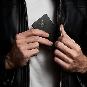 KELPIS Porta carte di credito con giacca in pelle