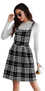 Houndstooth Plaid Suspender Skirt A Line Pinafore Bib Overall