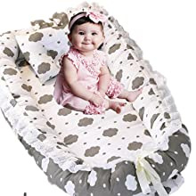 Gray Baby Bassinet for Crib Portable Newborn Bed with Nylon Lace Prefect for Co-Sleeping Cute Cloud Design,Baby Shower Gift Brandream Baby Nest Bed Cloud