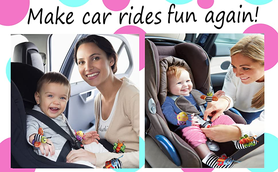 Mothers putting their babies' into car seats. Babies' wearing babychino rattle sock and wrist toys