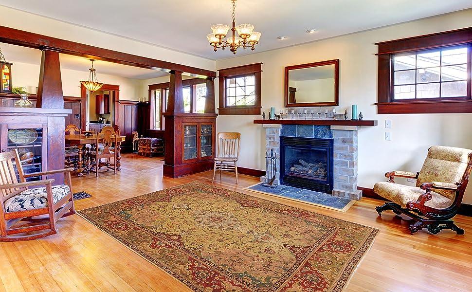 persian rug in living room