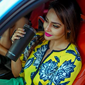 InstaCuppa Thermos Travel Mug with Handle will fit into your car cup holder
