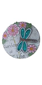 blue dragonfly pink flower spring stepping stone
