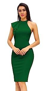 Women's Fashion Ruffle One Shoulder Sleeveless Midi Bodycon Pencil Party Dresses