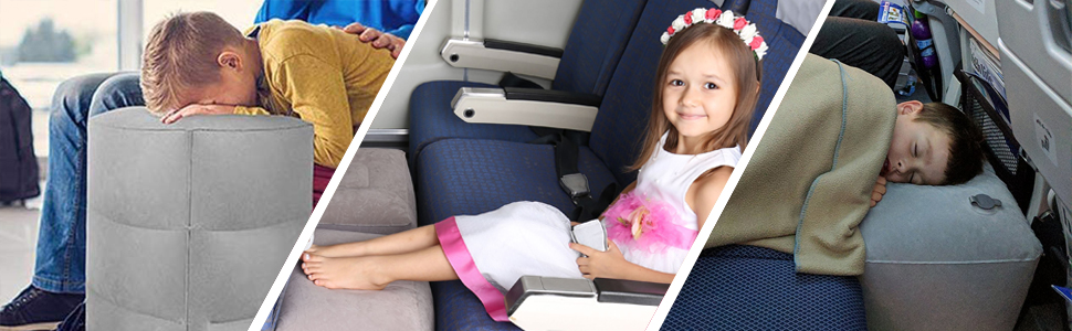 Adjustable Height Leg Pillow Kooshy Kids Inflatable Travel Foot Rest Pillow Make a Flat Bed for Kids and Toddlers Kids Airplane Bed Bus and Car Also use on Train