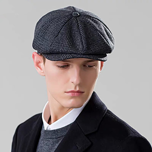 Plaid dark grey Herringbone hat