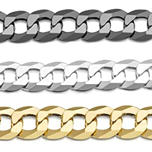 Amberta Plated on 925 Sterling Silver Bracelet - Flat Cuban Curb Chain for Men Rhodium Plated