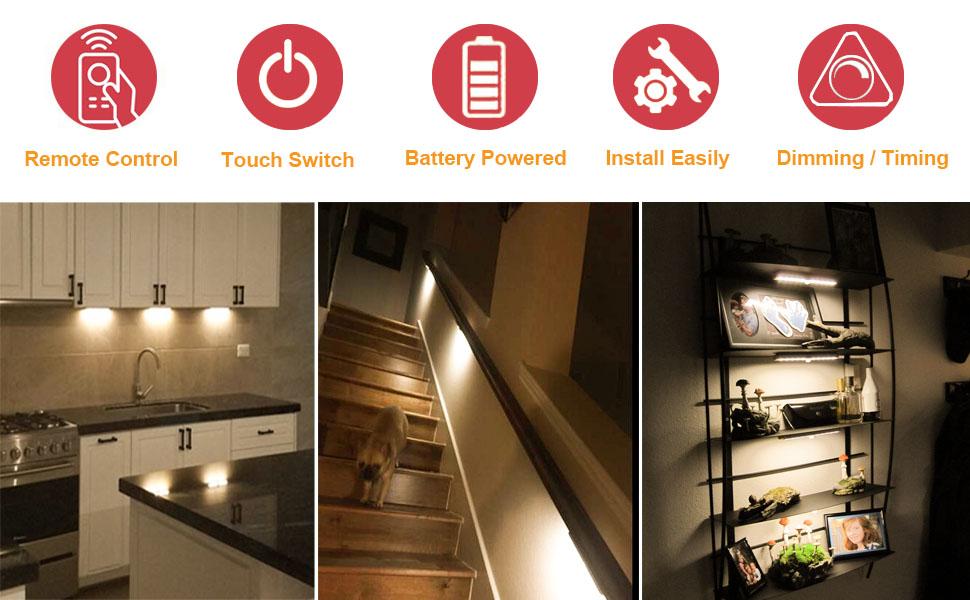 Anbock Under Cabinet Lighting Remote Control Led Closet Light