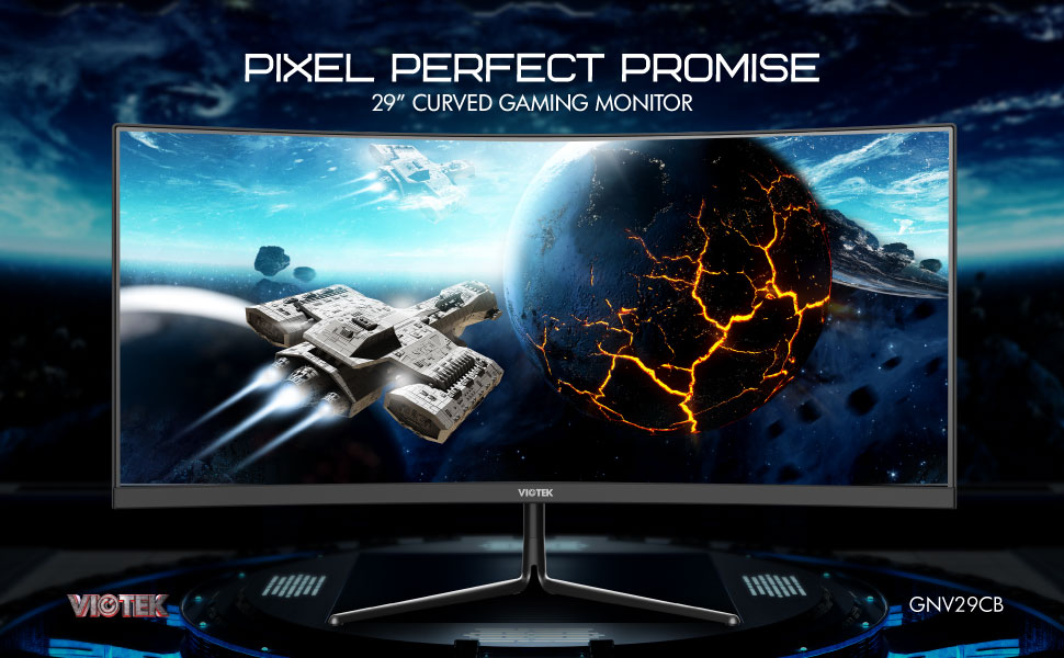 VIOTEK GNV29CB Ultrawide 120Hz 29-Inch Curved Gaming Monitor   Compact All-in-One Monitor Solution