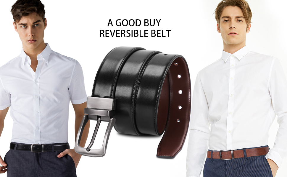 Men's Belt, Leather Reversible Belt