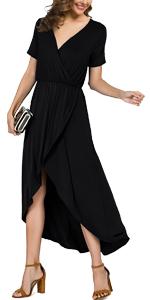 Women's V Neck Slit High Wrap Maxi Dress Summer Beach Party Wedding Dress