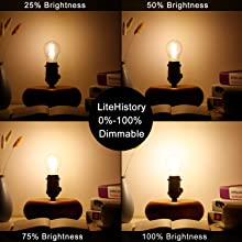 Litehistory Dimmable A15 Led Bulb 4w Equal 40 Watt E26 Led