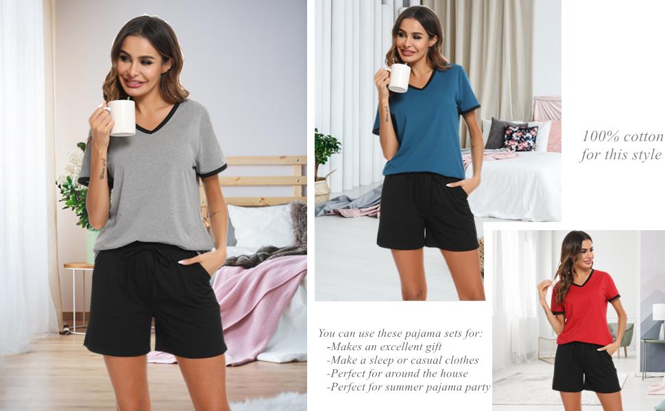 Vlazom Women's Summer Pajama Sets