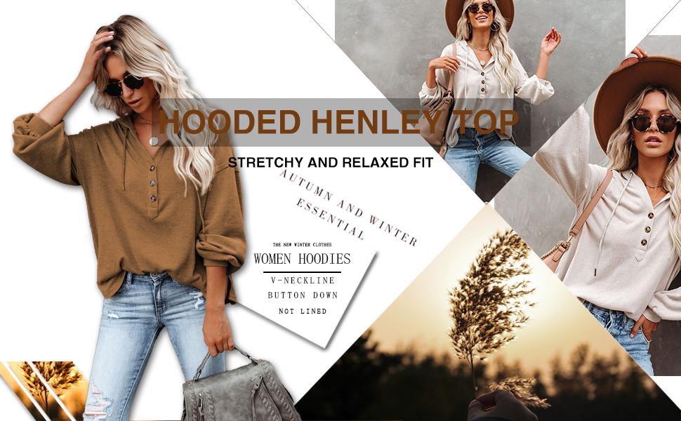 MLEBR Womens Long Sleeve Button Down V Neck Drawstring Hooded Henley Tops Sweatshirt Blouses