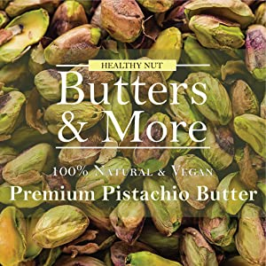 Vegan pistachio Butter protein healthy plant pista nut butter snack baklava unsweetened