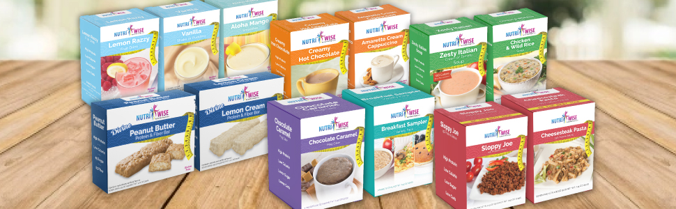 Nutriwise products weight loss diet high protein low calorie shakes bars soup dessert breakfast