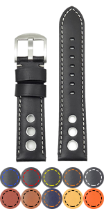 Leather Racing Strap with Stitching