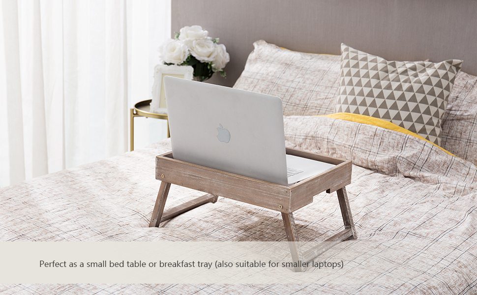 Vintage Graywashed Wood Breakfast Tray w/Foldable Legs laptop table bed trays server serving tray