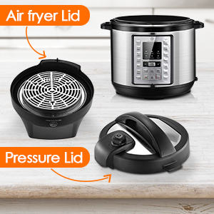 6.5Qt Pressure Cooker and Air Fryer Combos, 1500W, Air Fryer All-in-One, 14 One-Touch Programs