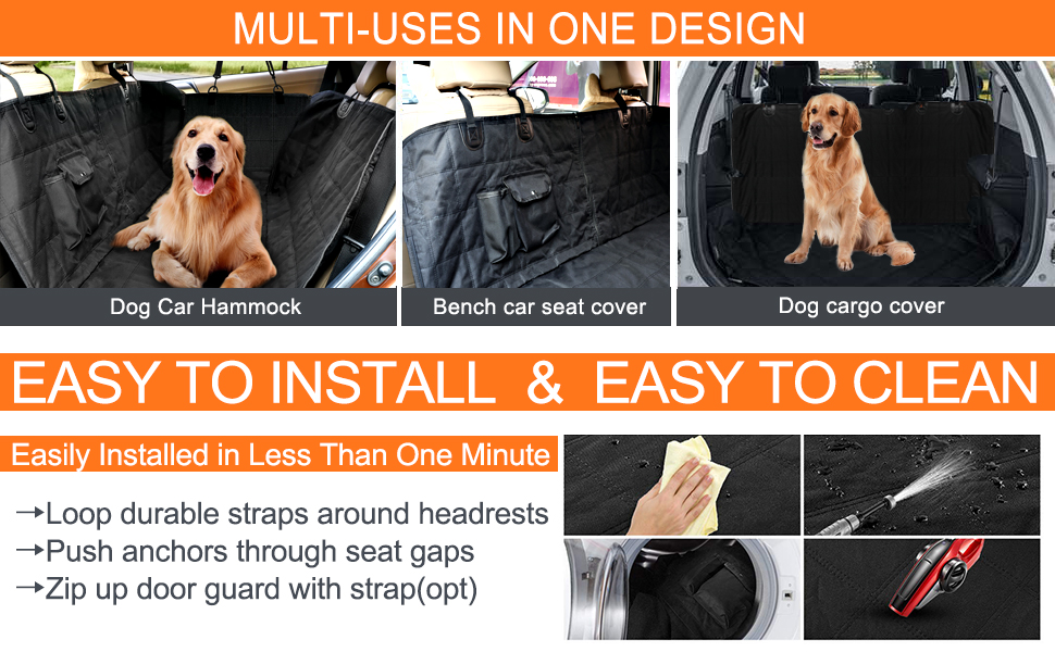 Dog car hammock with regular truck suv size available is machine washable, easy to install and clean
